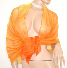 STOLA elegante MAXI FOULARD cerimonia donna ARANCIONE seta velata coprispalle abito da sera 75X
