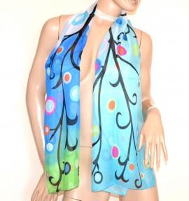 STOLA foulard donna blu azzurro celeste fantasia coprispalle velato pois A44