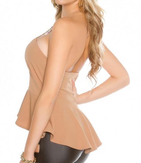 TOP BEIGE ORO canotta donna maglietta giromanica sottogiacca elegante party AZ42
