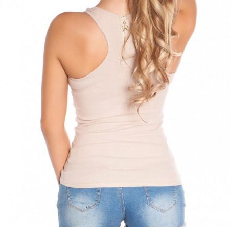 TOP CANOTTA BEIGE donna sexy t-shirt maglia smanicata sport palestra zip dorata AZ49