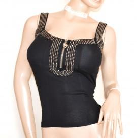 TOP CANOTTA NERA donna maglietta bustino corsetto strass chiodini zip cotone G42