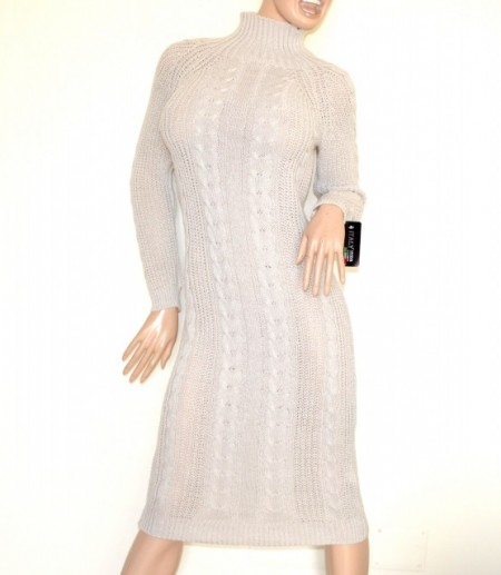 VESTITO BEIGE abito a maglia lungo donna lana collo alto manica lunga made in Italy G68
