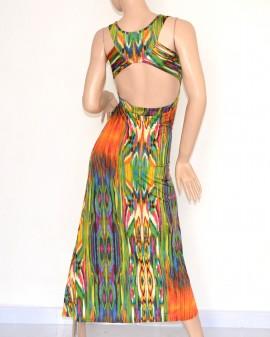 VESTITO LUNGO cerimonia MAXI abito multicolore fantasia da sera scollatura elegante incrocio SEXY schiena nuda 105C
