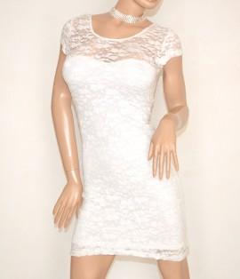 ABITO BIANCO donna elegante vestito manica corta pizzo ricamato da cerimonia sexy da sera E105