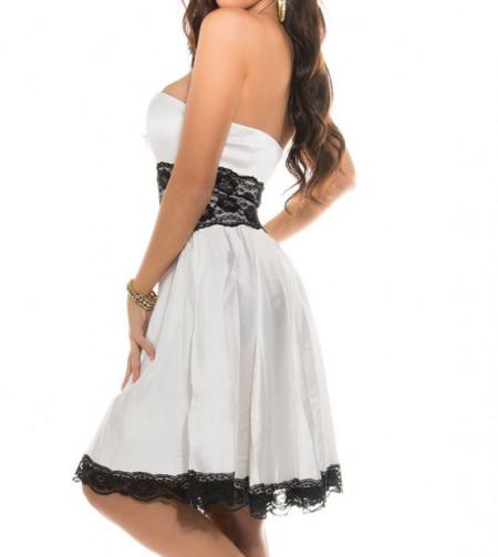 ABITO BIANCO donna pizzo nero ricamato fascia smanicato decoltè elegante cerimonia A45
