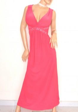 purchase cheap 48333 8eb4a ABITO LUNGO donna ROSA FUCSIA elegante vestito damigella cerimonia  cristalli perline abito da sera E20