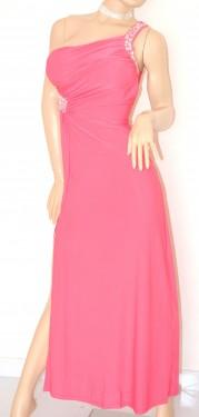 ABITO LUNGO donna ROSA FUCSIA vestito ELEGANTE da sera MONOSPALLA sexy cristalli da cerimonia festa 60X