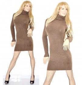 2a00a5cecfb4 ABITO MARRONE maniche lunghe maxi pull vestito donna collo alto lana 41