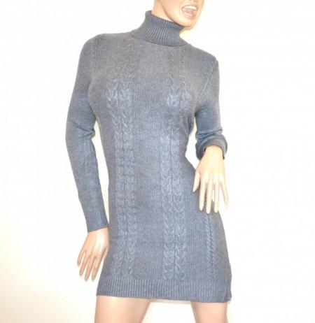 4fc9d37037 ABITO vestito a maglia GRIGIO donna maglione maxipull collo alto manica  lunga robe G76