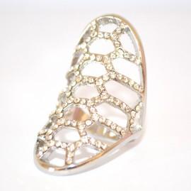 ANELLO ARGENTO donna STRASS CRISTALLI brillantini elegante anillo ring anneau 90