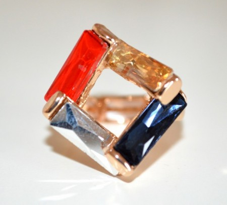 ANELLO donna oro dorato cristalli rosso ambra blu argento a molla elastico BB15