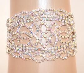 BRACCIALE ARGENTO donna STRASS boreali cristalli elegante cerimonia sposa E105