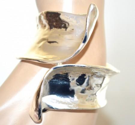 BRACCIALE ARGENTO platino donna rigido a schiava metallo lucido bracelet rannerengas BB30