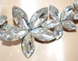 BRACCIALE CRISTALLI argento donna sposa matrimonio fiori gocce cerimonia F125