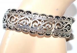 BRACCIALE donna argento nero bianco strass farfalla elastico a molla bigiotteria A14