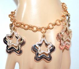 BRACCIALE donna ciondoli stelle argento oro rosa dorato strass regalo bigiotteria F260