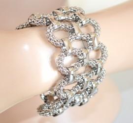 BRACCIALE donna intrecciato ARGENTO semi rigido ELEGANTE bracelet 620