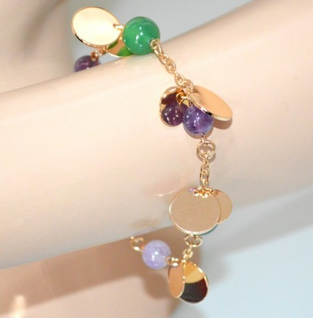 BRACCIALE donna oro dorato ciondoli pietre viola glicine verdi gold bracelet GP10