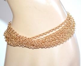 BRACCIALE donna oro fili ciondoli campanelle smaltati elegante bracelet A66
