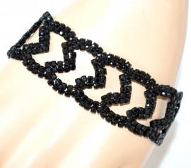BRACCIALE NERO donna strass cristalli elegante cerimonia bracelet pulsera F88