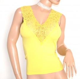 CANOTTA GIALLA top maglia donna maglietta pizzo giromanica sottogiacca E163