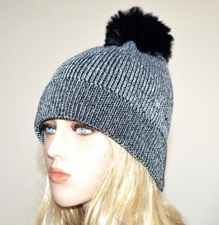 CAPPELLO nero argento donna berretto lurex copricapo pon pon invernale hat  G14 ca72b1554689