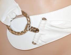 CINTURA BIANCA donna cinturone stringivita fibbia argento elegante eco pelle ceinture A12