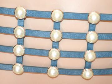 CINTURA BLU AZZURRO PERLE donna stringivita bustino eco pelle elastico elegante BB4