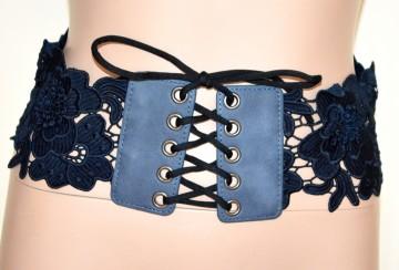 CINTURA BLU PIZZO donna stringivita bustino fascia ricamata corsetto lacci BB2