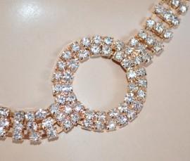 CINTURA-GIOIELLO donna METALLO ORO dorata strass cerchi cristalli brillanti elegante cerimonia belt 55