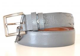 CINTURA GRIGIO uomo 30% PELLE elegante fibbia metallo belt пояса bälte NX6