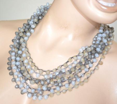 COLLANA CRISTALLI donna oro grigio argento beige tortora girocollo collier pietre perle P32