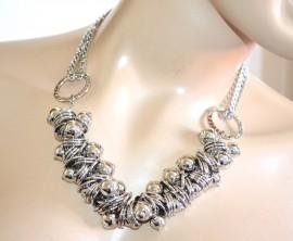 COLLANA donna argento girocollo cerimonia sfere lucide anelli collier elegante  catena A88 a28d1f2266f