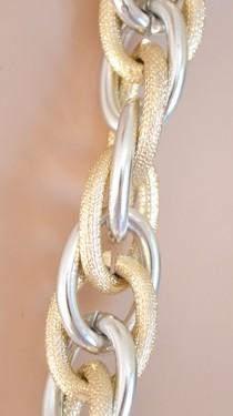 COLLANA donna argento oro bicolore CATENA Anelli lucidi e satinati sexy necklace collar collier G02