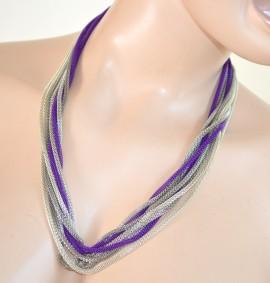 COLLANA donna GIROCOLLO ARGENTO FILI collier necklace viola collar 210C