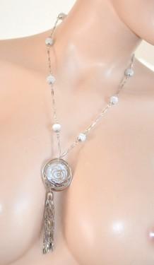 COLLANA donna LUNGA ARGENTO PIETRE Bianche ciondolo collar necklace 230C