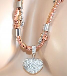 COLLANA LUNGA argento oro rosa dorata donna ciondolo cuore strass collier F260