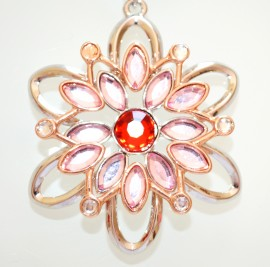 COLLANA LUNGA donna ciondolo fiore cristalli ARGENTO ORO ROSA ROSSO catenina filo 5N
