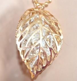 COLLANA LUNGA girocollo donna ORO elegante CIONDOLO pendente FOGLIA CRISTALLI strass dorata halsband 980