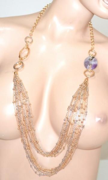 COLLANA LUNGA oro dorata argento donna pietra lilla glicine multi fili anelli collier GP22