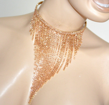 COLLANA ORO STRASS rosa donna collarino collier fili cristalli collare elegante BB32