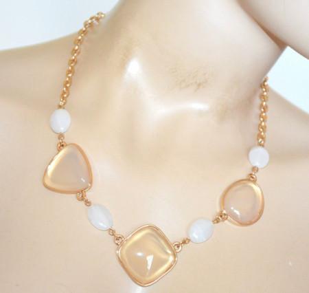 COLLANA PIETRE BEIGE BIANCHE donna ORO girocollo ciondoli collier catena anelli collier N90