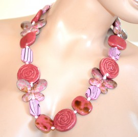 COLLANA ROSA pietre dure donna lunga girocollo collier necklace collar F155