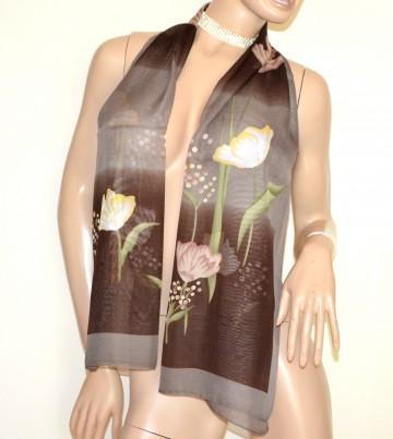 FOULARD donna MARRONE TORTORA SAFARI 40% seta sciarpetta sciarpa stola velata coprispalle G38