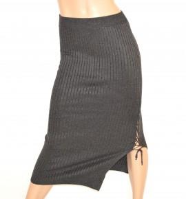 GONNA donna LUNGA GRIGIO stretch elasticizzata ELEGANTE laccetti SEXY long skirt falda 15