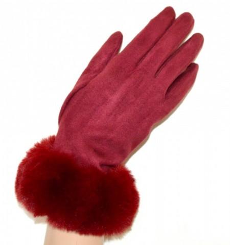 GUANTI ROSSI donna eco pelliccia pelliccetta scamosciati camoscio eleganti invernali gloves G8