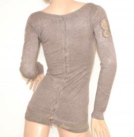 MAGLIETTA BEIGE TORTORA donna manica lunga maglia girocollo maglione sottogiacca pizzo sexy strass Z25