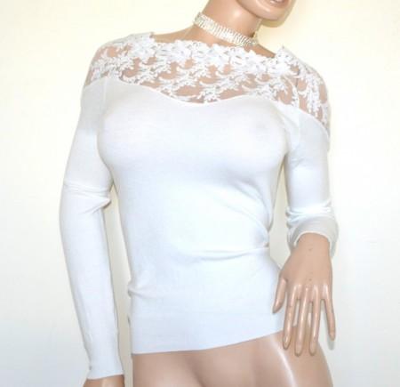MAGLIETTA BIANCA donna maglia manica lunga golfino velata ricamata sottogiacca pull over G72