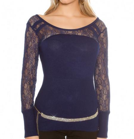 MAGLIETTA BLU donna sottogiacca manica lunga ricamata maglia maglione pullover AZ1