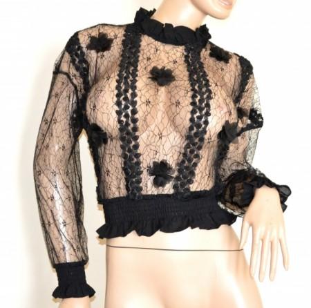 MAGLIETTA NERA donna tulle ricamato manica lunga maglia velata elegante chemise G89